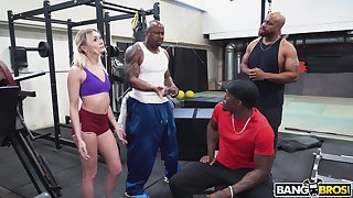Hardcore interracial gangbang in the gym with slutty Chloe Conservation area