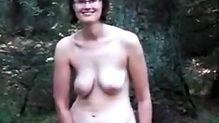 Slaggy titty old lady in the wood
