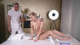 Stunning blonde Elen Million gets a rub down added to a stiff cum gun