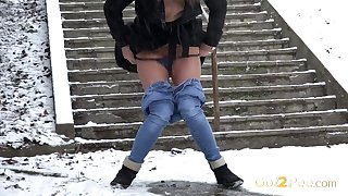 Piss loving whore Join Dafne loves leaving yellow stains on the snow