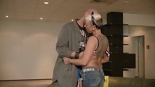 Tattooed cougar Mandy Mystery has an affair with one bald headed dude
