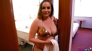 Awesome all alone and a bit plump busty Sophia Delane plays with boobies