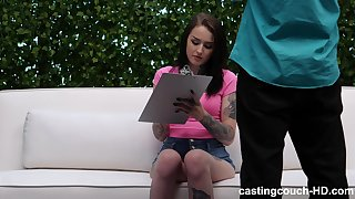 sweet and kinky Jenna takes a black cock from behind on the casting today