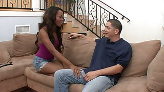 Black chick Karmin Renee is fucked and jizzed by hot blooded white fellow