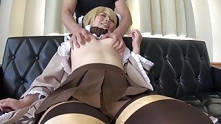 Awesome oriental Yukie having a wet dildo trip