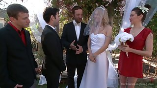 Blind folded bride Natasha Starr is fucked by groom with the addition of several dudes