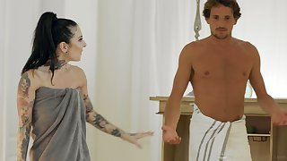 Professional masseuse Joanna Angel gives a nuru massage to her stepson