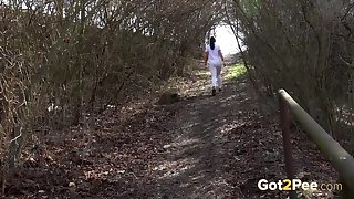 Titillating hoe Vinna Reed spends her free stage walking and peeing in an obstacle forest