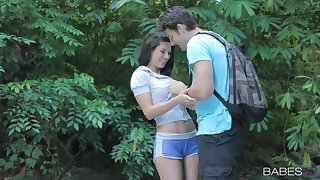 Open-air sex while camping thither seductive brunette unshaded Alexa Tomas