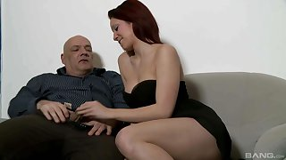 Cute babe wants this older man's big gumshoe in her caird