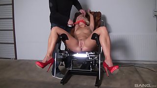 Naked blonde gets gagged and roughly fucked of a complete fetish XXX