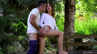 Unconditional cinematic creation featuring outdoor lovemaking with Kira Thorn